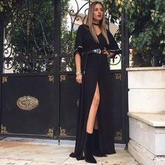 #Black #BOHO #MAXI #DRESS #SPLIT #SIDE #SEXY #CLASSY