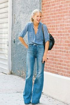 denim on denim, bell bottoms, chambray shirt, street style, style, fashion