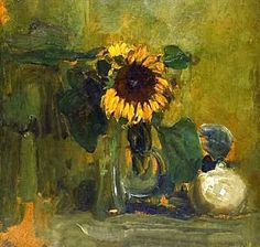 Nature died with Sunflower, 1907 by Piet Mondrian. Impressionism. still life. Detroit Institute of Arts, Detroit, MI, US