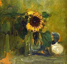 Nature died with Sunflower -  Artista: Piet Mondrian (1872-1944) Data da Conclusão: 1907 Estilo: Impressionism Género: still life Técnica: oil Material: 1wood Galeria: Detroit Institute of Arts, Detroit, MI, USA