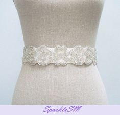 Couture Bridal Sash  Riley by SparkleSM on Etsy, $70.00