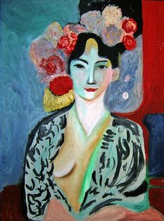 Tribute to Matisse Large Print-Colourful Female portrait Giclee print-Flowers…