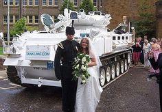 Unusual wedding car it's a white tank image via www.carhumor.net
