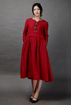 Just a Dream-Dark red long linen dress(more colour and size choice)
