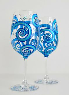 Ocean Waves Toasting Wine Glasses by MaryElizabethArts.com ♥ The perfect toasting glasses for weddings by the sea.