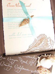beach themed invitation.  love the small shell detail!