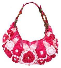 Bolsa em crochê e videos com diversos tipos de flores em crochet.