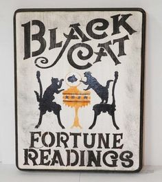 Primitive Style Halloween Sign Black Cat Fortune Readings Crystal Ball $27