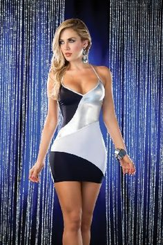 Espiral Lingerie Espiral Halter Criss-Cross Mini Dress 4192 Sexy body conscious dress in black, silver and white with V-neckline, adjustable around the neck strap for a perfect cleavage and mini length which lengthens the legs. The open back is embellished wit http://www.MightGet.com/january-2017-12/espiral-lingerie-espiral-halter-criss-cross-mini-dress-4192.asp