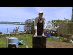 Biomass to Biochar through Pyrolysis in a Double Barrel / 2 keg retort - YouTube