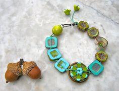 aqua and lime bracelet  . . . by marthasrubyacorn on Etsy, $44.00