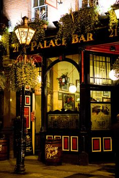 "The Palace Bar  21 Fleet St. Dublin Ireland  ""Apparently, this was where the 'shawlies' met – single women, often widows, out for a nip and a natter. Forget the gossip columns in Smyllie's paper, these ladies would have told you stories to make your ears burn."""