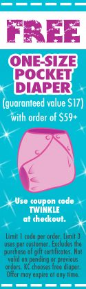 Free one-size cloth diaper with purchase of $59 or more. http://www.kellyscloset.com/?AffId=630