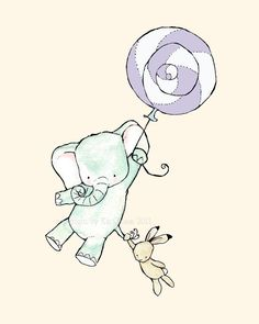 Come Fly With Us lavender balloon 8X10 Nursery Art Print elephant and bunny. $20.00, via Etsy.