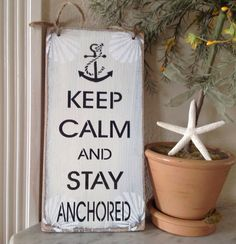 Keep calm and stay anchored sign...hand painted beach by KerriArt