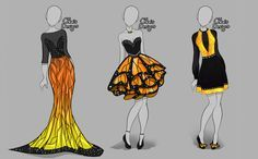 Auction: Outfit Design Batch [Open by DoYouKnowJuice on DeviantArt Dress Drawing, Drawing Clothes, Anime Outfits, Cool Outfits, Clothing Sketches, Anime Dress, Butterfly Design, Monarch Butterfly, Fashion Design Sketches