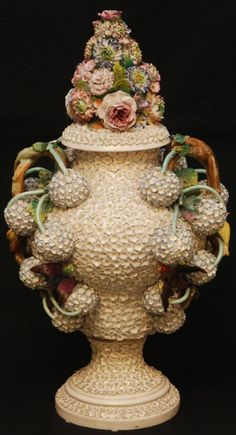 18th MEISSEN STYLE ROCOCO SNOWBALLBLOSSOMS VASE ~  18th century Meissen style Rococo Snowball Blossoms vase. Vase is decorated throughout with white flowers with with raised balls of flowers. Has birds throughout exterior. Stunning floral decoration to cover. Holds dotted crossed swords mark to bottom. Probably Chelsea or F.J. Peterinck Tournai Doornik circa mid to late 18th century