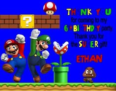 Super Mario Luigi Birthday Party Thank You Note Cards Personalized Custom Birthday Thank You Cards, Thank You Note Cards, Super Mario And Luigi, Your Cards, Birthday Parties, Party, Gifts, Anniversary Parties