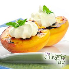 Grilled Peaches & Pears...Grilling fruit brings out the sweetness and adds a nice caramel flavoring. These grilled peaches and pears are topped with our Peach Balsamic Vinegar, vanilla ice cream, and sliced almonds. A super summer dessert!