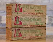 Vintage Cheese Boxes, SET OF 3, Pine River Wisconsin American Cheese Box