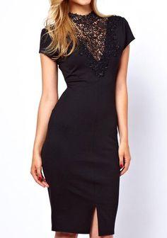 Black Patchwork Lace Short Sleeve Midi Dress