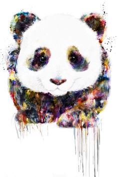 I like this panda art because of the way it was painted with a variety of colors and not just only black and white. This panda reminds me of one of my best friends named Logan, and the reason is that he loves pandas. Panda Love, Cute Panda, Cute Drawings, Animal Drawings, Panda Mignon, Panda Art, Panda Panda, Red Panda, Inspiration Art