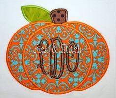 Monogram Pumpkin Fall Applique Design Machine by pickandstitch