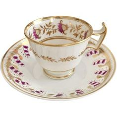 Antique Regency Ridgway cup and Spode saucer, London shape, thistle and harebells, ca 1820