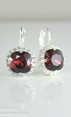Burgundy earrings | burgundy crystal earrings | burgundy bridal jewelry | burgundy wedding | marsala wedding | http://www.endorajewellery.etsy.com