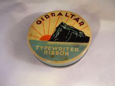 Neat Vintage Rock of Gibraltar Typewriter Ribbon Tin Includes Ribbon  #Gibraltar