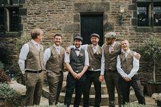 Tweed Groom Groomsmen Waistcoats Caps Hats Ties Enchanting Woodland Boho Wedding http://www.kerrydiamondphotography.com/