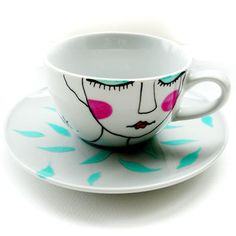 GREEN TEA - handpainted illustrated tea-cup and saucer