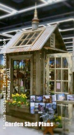 I have four windows already! Waiting for the right design! Perfection in a garden Shed - the amazingly talented Bob Bowling, from Whidbey Island, WA. This is one of his AMAZING little garden sheds being shown at the Seattle Garden Show. Outdoor Greenhouse, Best Greenhouse, Outdoor Sheds, Greenhouse Plans, Window Greenhouse, Homemade Greenhouse, Portable Greenhouse, Greenhouse Wedding, Cottage Patio