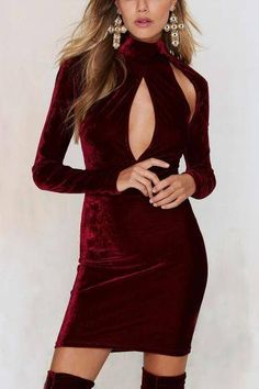 de cuello alto Recortable mini vestido en Borgoña - US$15.95 -YOINS