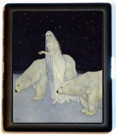Fantasy Illustration Woman with Polar Bear