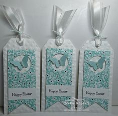 This months thank you's to my Stamp Club members were Easter tags.               Cardstock:  Whisper White, Sweet Sorbet Designer Series...