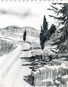Marie-Louise Martin landscape sketch with trees Landscape Sketch, Landscape Drawings, Landscape Art, Landscape Architecture, Nature Sketch, Nature Drawing, Pencil Art Drawings, Art Sketches, Drawing Projects