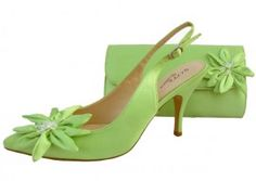 Rosa Lime Green Evening Shoes. Lime Green Wedding Shoes and Matching Bag