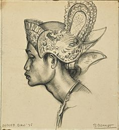 'Portrait of a Balinese dancer' by Rudolf Bonnet. Charcoal on paper.