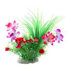 $4.06 - H1 Plastic Flower Aquarium Plants Fish Tank Decoration, Multicolor #ebay #Home & Garden