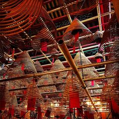 #chinese #incense coils suspended from ceiling. #smoke rises ascends to heaven climbs the ladder as we must. the air is thick with prayer rising through the dust. #temple #buddhism #spirituality #travel #travelgram #traveling #travelphotography #asia #poetry #poetry #hongkong