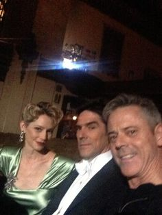 @CThomas Howell: BTS shot with @meremonroe and the man, Thomas Gibson (for the 200th episode!!!!)