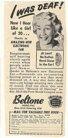 1950s ad: Beltone Hearing Aid