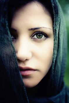 Image detail for -deep eyes | scarf, up, close, portrait, woman, green, eyes