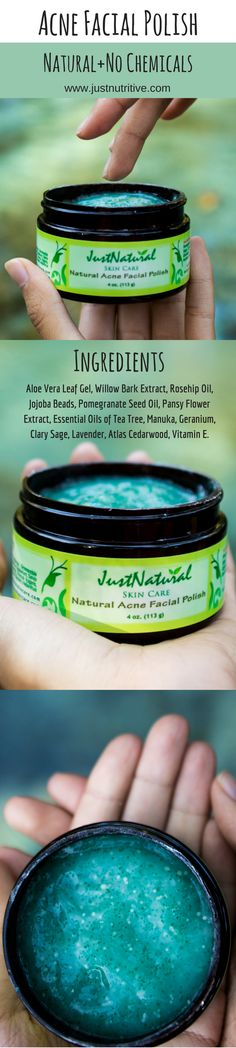 Importance of using a polish to have clearer and acne free skin. This non-abrasive acne polish contains soft, ultra-fine Jojoba and Sunflower wax beads with herbal essentials that work in two ways.