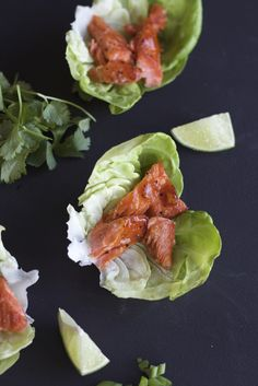 Honey Sriracha Salmon Lettuce Wraps