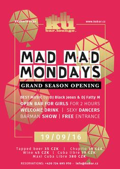 TODAY #MADMADMonday Grand Season Opening starting at 9pm at #kubarlounge 2 HOURS OPEN BAR FOR GIRLS-FREE WINE & BEER