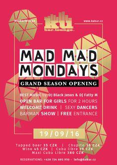 TODAY #MADMADMonday Grand Season Opening starting at 9pm at #kubarlounge 2 HOURS OPEN BAR FOR GIRLS-FREE WINE & BEER