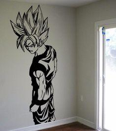 D240 Super Saiyan Goku Vinyl Wall Decal - Dragon Ball Z, DBZ Anime Wall Art, Sticker