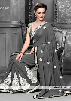 Faux Georgette And Resham Fabrics Grey Color Saree || Style: Designer Saree